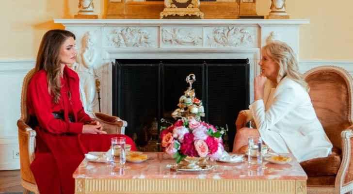 Queen Rania Al Abdullah meets US First Lady Jill Biden at White House