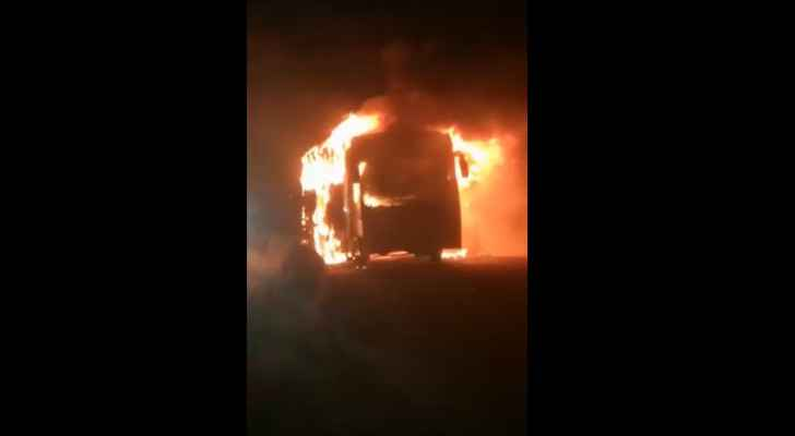 VIDEO: Passenger bus catches fire in Aqaba, no injuries reported