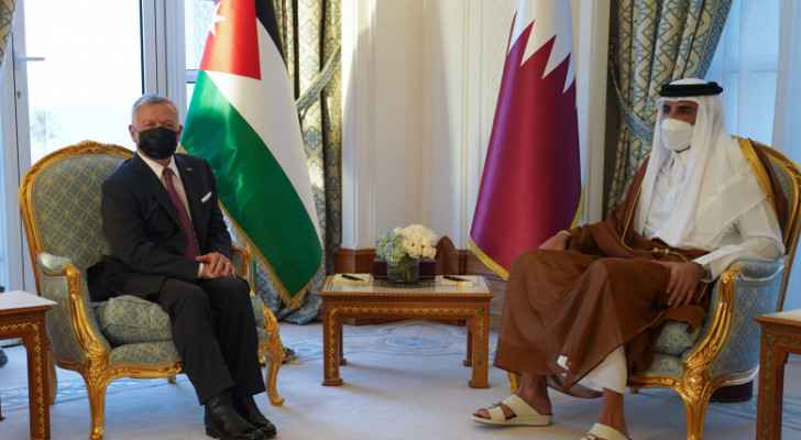 King holds talks with Qatar emir in Doha
