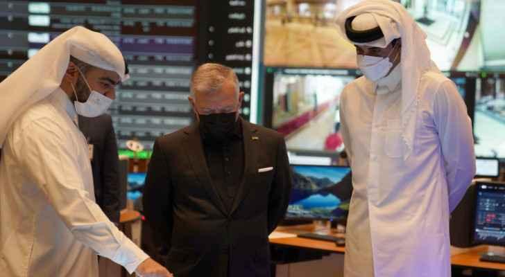 King, Qatari Emir visit World Cup security operations room, Education City Stadium